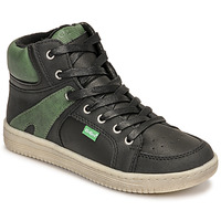 Shoes Boy High top trainers Kickers LOWELL Black / Green