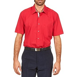 material Men short-sleeved shirts Pierre Cardin CH MC POPELINE UNIE - OPPO RAYURE INTERIEUR COL & POIGNET Pink / Red