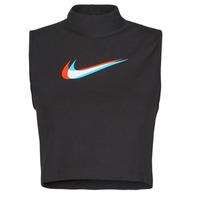 material Women Tops / Sleeveless T-shirts Nike W NSW TANK MOCK PRNT Black