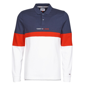 material Men long-sleeved polo shirts Tommy Jeans TJM REG COLORBLOCK POLO L/S Blue / White / Red