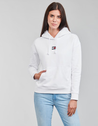 material Women sweaters Tommy Jeans TJW TOMMY CENTER BADGE HOODIE White