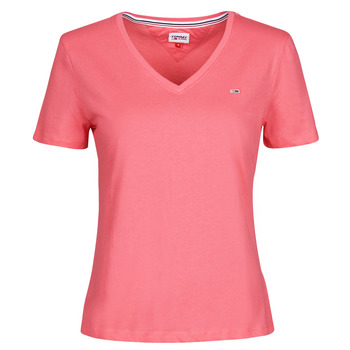 material Women short-sleeved t-shirts Tommy Jeans TJW SLIM SOFT V NECK TEE Pink