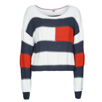 material Women jumpers Tommy Jeans TJW  RWB STRIPE SWEATER Blue / White / Red