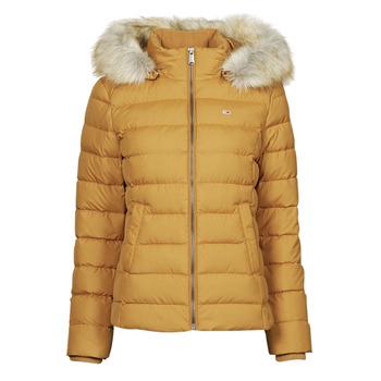material Women Duffel coats Tommy Jeans TJW BASIC HOODED DOWN JACKET Mustard