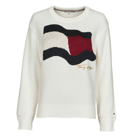 material Women jumpers Tommy Hilfiger ORG CO FLAG C-NK SWEATER White