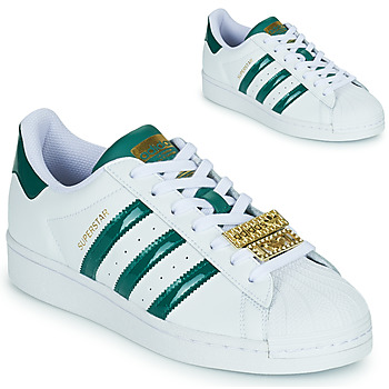 Shoes Women Low top trainers adidas Originals SUPERSTAR W White / Green / Jewel