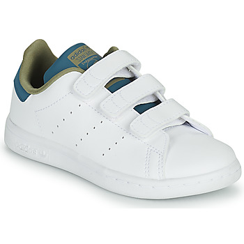 Shoes Girl Low top trainers adidas Originals STAN SMITH CF C White / Blue / Beige