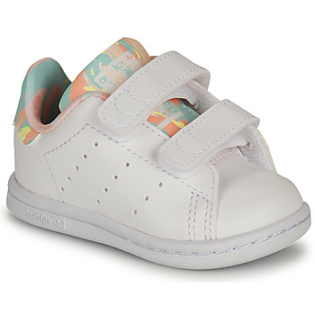 Shoes Girl Low top trainers adidas Originals STAN SMITH CF I White / Pink / Flower