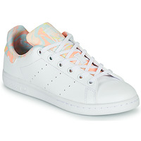 Shoes Girl Low top trainers adidas Originals STAN SMITH J White / Pink