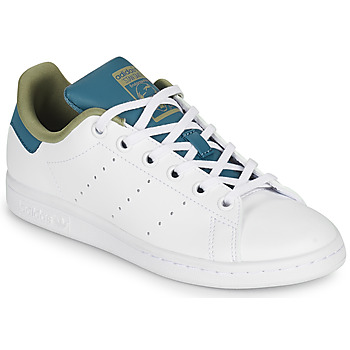 Shoes Girl Low top trainers adidas Originals STAN SMITH J White / Blue / Beige