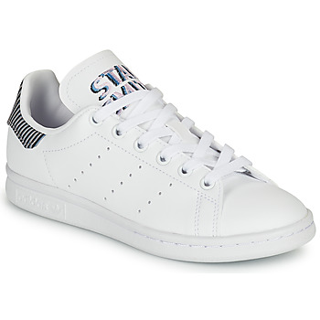 Shoes Children Low top trainers adidas Originals STAN SMITH J White / Blue / Striped