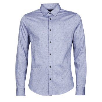 material Men long-sleeved shirts Scotch & Soda CLASSIC SLIM FIT KNITTED Blue