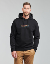 material Men sweaters Scotch & Soda HOODED SWEAT WITH CHEST ARTWORK Black
