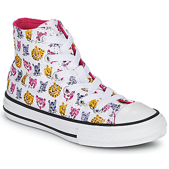 Shoes Girl High top trainers Converse CHUCK TAYLOR ALL STAR JUNGLE CATS HI White / Pink / Yellow