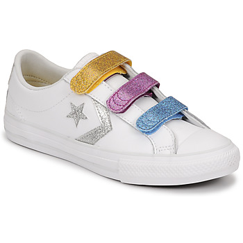 Shoes Girl Low top trainers Converse STAR PLAYER 3V GLITTER TEXTILE OX White / Multicolour