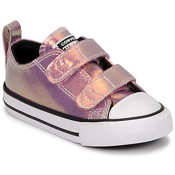 Shoes Girl Low top trainers Converse CHUCK TAYLOR ALL STAR 2V IRIDESCENT GLITTER OX Pink