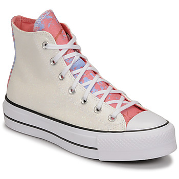 Shoes Women High top trainers Converse CHUCK TAYLOR ALL STAR LIFT HYBRID SHINE HI White / Pink