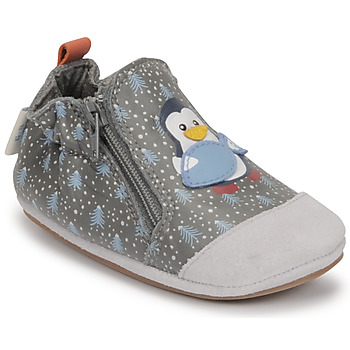 Shoes Boy Baby slippers Robeez BLUE PINGUINS Grey