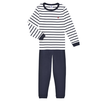 material Boy Sleepsuits Petit Bateau TECHI White / Blue
