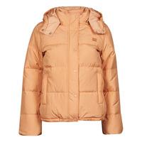 material Women Duffel coats Levi's QUINN SHORT DOWN PUFFER Peach