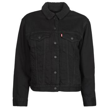 material Women Denim jackets Levi's EX BF SHERPA TRUCKER Black