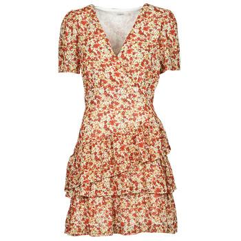 material Women Short Dresses Moony Mood ORNAMA White / Multicolour