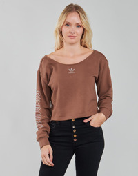 material Women sweaters adidas Originals SLOUCHY CREW? Brown