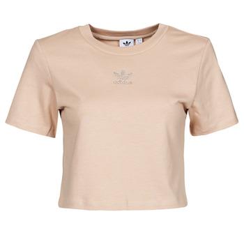 material Women short-sleeved t-shirts adidas Originals CROPPED  TEE Beige