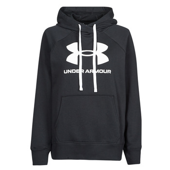 material Women sweaters Under Armour RIVAL FLEECE LOGO HOODIE Black / White