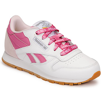 Shoes Children Low top trainers Reebok Classic CL LTHR White / Pink