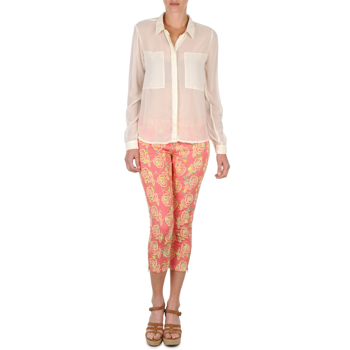 cropped trousers Manoush PANTALON GIPSY JEANS Pink
