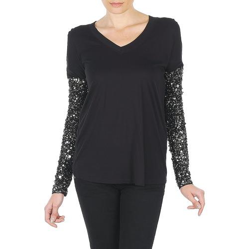 material Women Long sleeved shirts Manoush TSHIRT ML INDIAN BASIC Black
