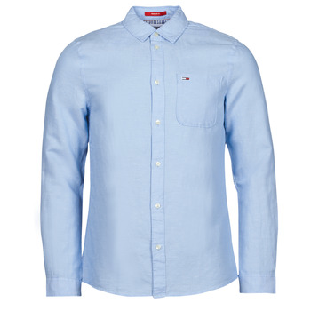 material Men long-sleeved shirts Tommy Jeans TJM LINEN BLEND SHIRT Blue
