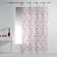 Home Sheer curtains Douceur d intérieur PETITE FLEUR White / Red
