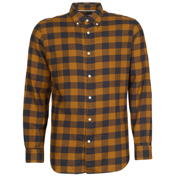 material Men long-sleeved shirts Selected SLHSLIMFLANNEL Brown / Marine