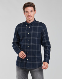 material Men long-sleeved shirts Selected SLHSLIMFLANNEL Marine