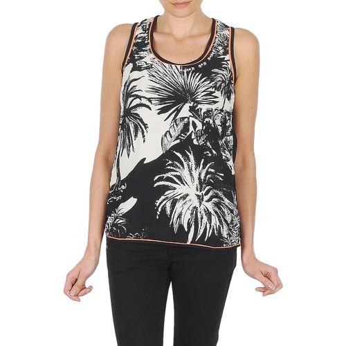 material Women Tops / Sleeveless T-shirts Derhy EDEN Black / White