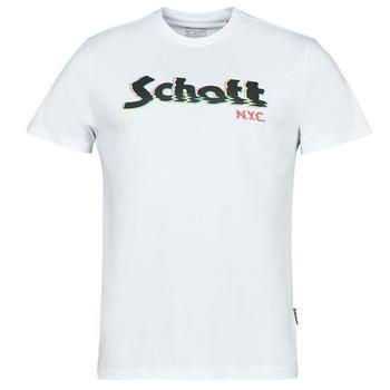 material Men short-sleeved t-shirts Schott TSLOGOELEK White