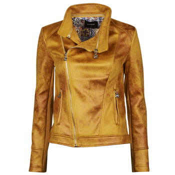 material Women Leather jackets / Imitation leather Desigual MARBLE Yellow