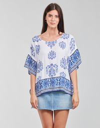 material Women Blouses Desigual ANDES White / Blue