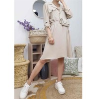 material Women Short Dresses Fashion brands CD2293-BEIGE Beige
