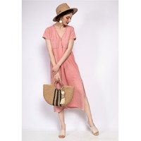 material Women Long Dresses Fashion brands 6658-CORAIL Coral