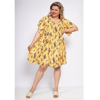 material Women Short Dresses Fashion brands DIABOLE-COLOR-ONE-JAUNE Yellow