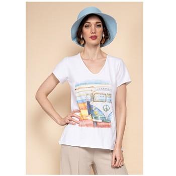 material Women Blouses Fashion brands 8301-COMBI-SKY-BLUE Blue