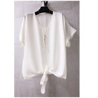 material Women Blouses Fashion brands BY32-WHITE White
