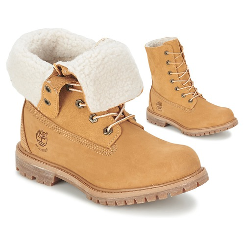 Shoes Women Mid boots Timberland AUTHENTICS TEDDY FLEECE WP FOLD DOWN Cognac  / Clear