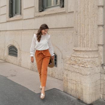 material Women 5-pocket trousers Céleste MARRONNIER Camel