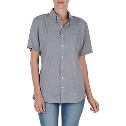 material Women short-sleeved shirts American Apparel RSACP401S White / Blue