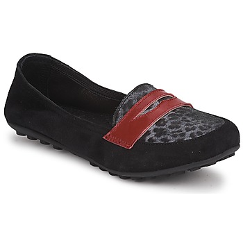 Shoes Girl Loafers Mod'8 CELEMOC JUNIOR Black / Leopard / Red