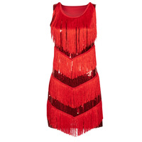 material Women Fancy Dress Fun Costumes ROBE ADULTE FLAPPER CHICAGO RED Multicolour